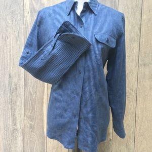 NWT Ralph Lauren Polo Blue Linen Button Down Shirt